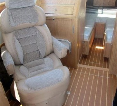 2nd captains chair to port in low position and swiveled to stern