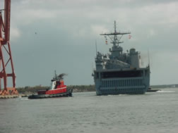 Tugboats & Navy Ship